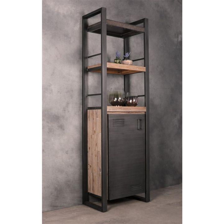 boekenkast industrieel met deur betonlook