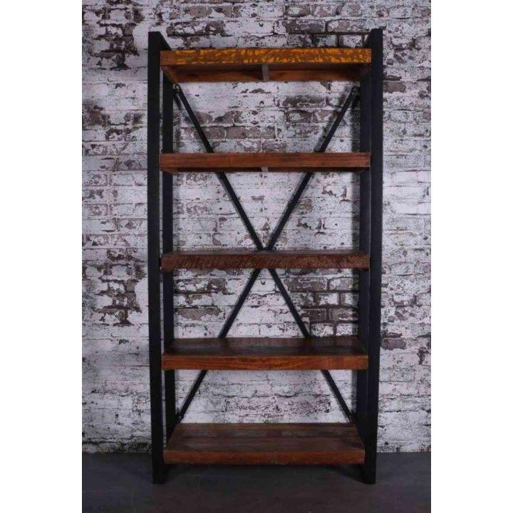 Boekenkast mangohout van 200 cm met vijf mangohouten planken en zwart staal.