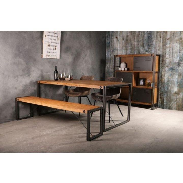 Eettafel industrieel 160 cm. Deze industriële eettafel heeft een ijzeren onderstel. Het bovenblad is gemaakt van geborsteld acaciahout