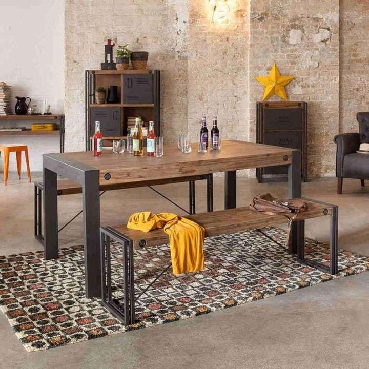 Eettafel industrieel. Deze industriële eettafel is gemaakt van acaciahout in combinatie met metalen blokpoten.