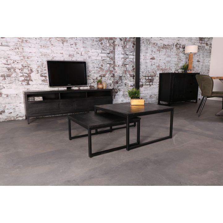 Zwarte salontafel set van twee