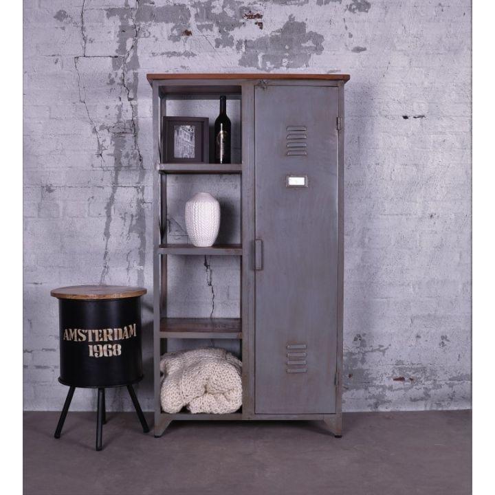 Industriële lockerkast grijs vintage