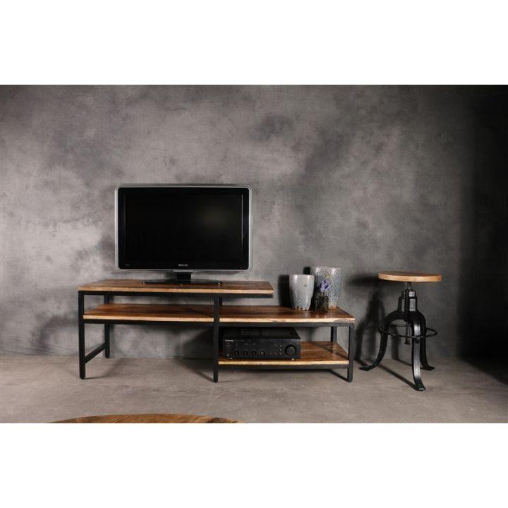 industriële tv meubels vintage mango hout