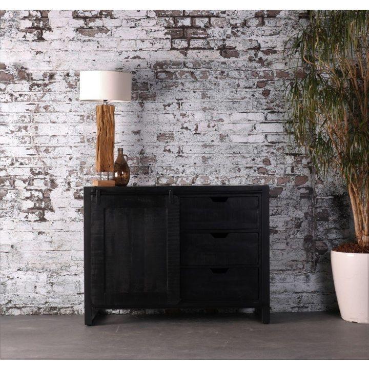 industrieel dressoir zwart mangohout