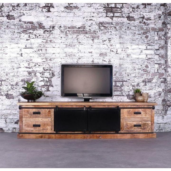 TV meubel mangohout met schuifdeuren