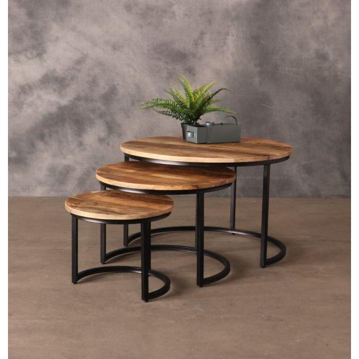 Industriële salontafel set mangohout