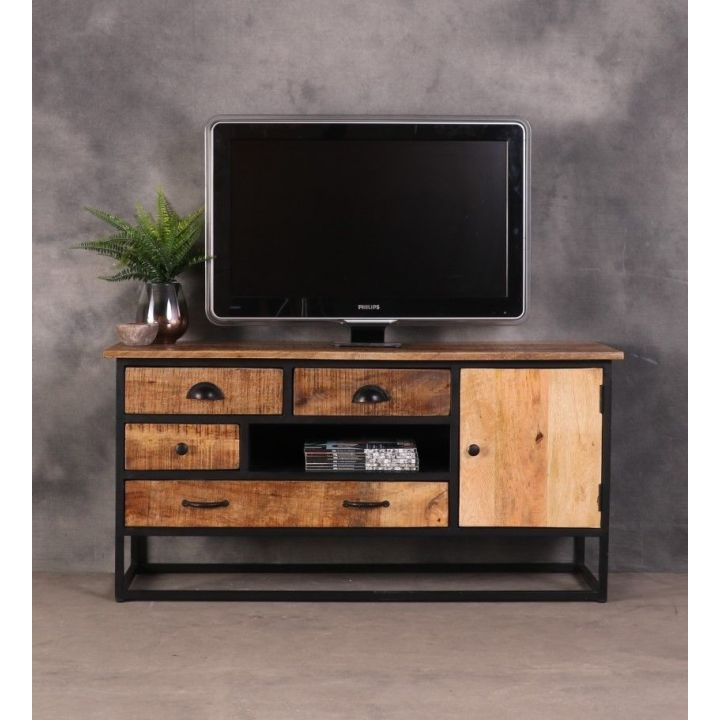 vintage tv meubel mangohout