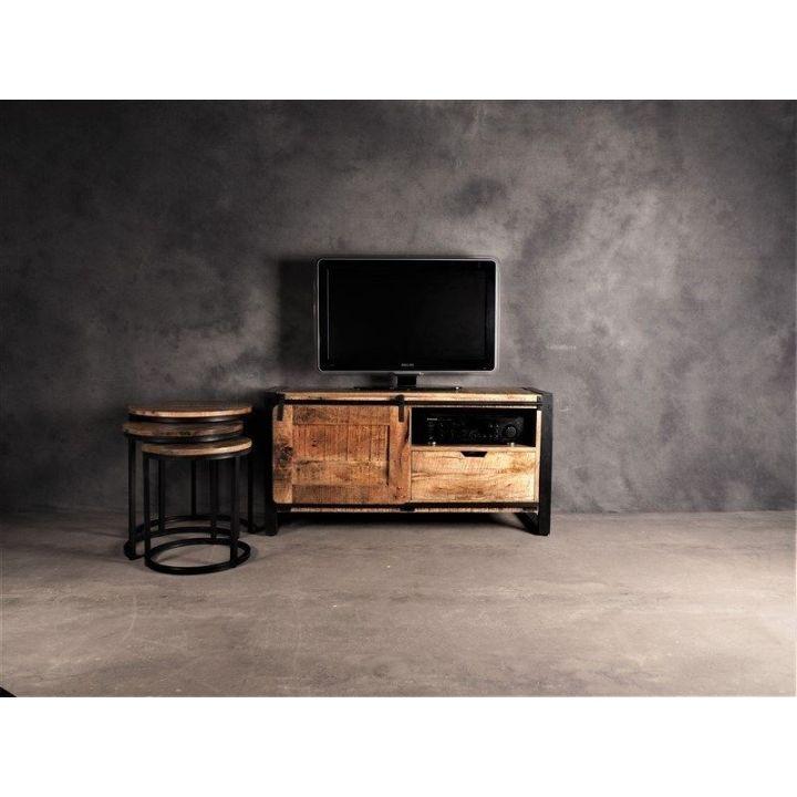 TV meubel met schuifdeur. Gemaakt van mangohout, breed 120cm