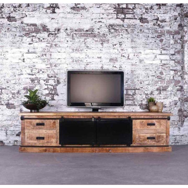 Tv meubel mangohout 200 cm met twee schuifdeurtjes, vier lades en twee open vakken.