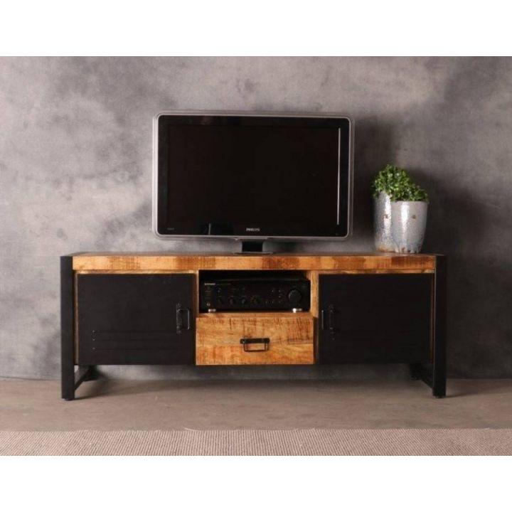 Tv meubel industrieel van mangohout 150 cm gecombineerd met zwart staal. Twee zwarte deuren een lade en een open vak.