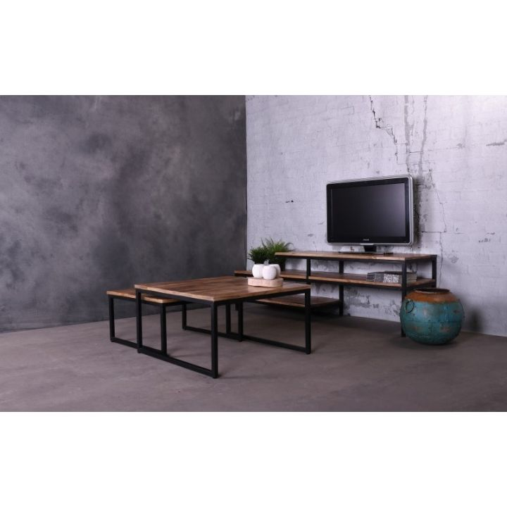 industriële tv meubels mango hout