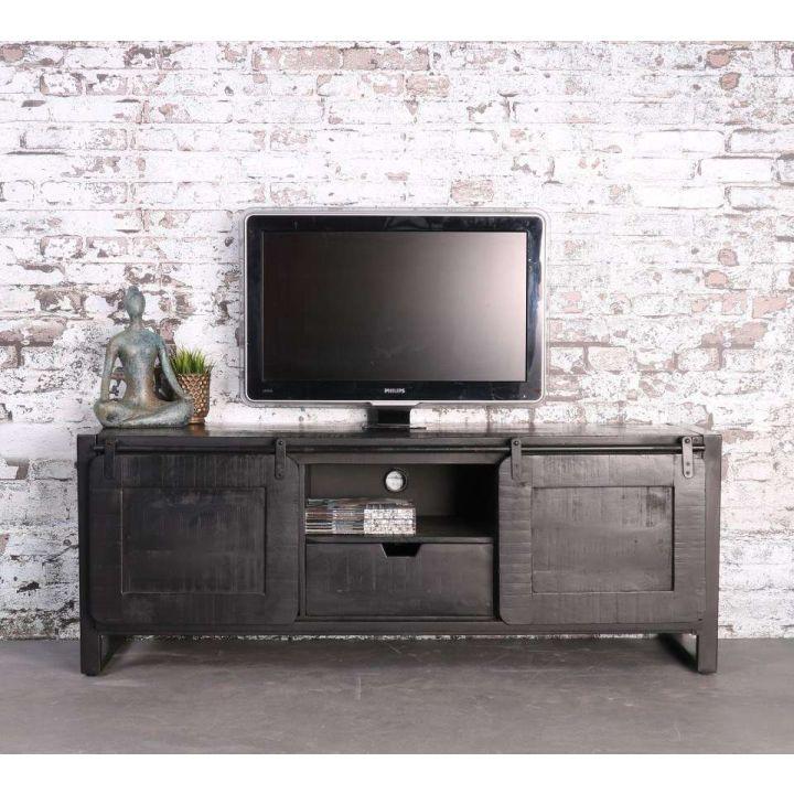zwart mangohouten tv meubel