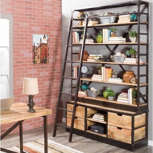 Industriële boekenkast met ladder