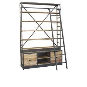 Industriële boekenkast met ladder 245*160*60 cm